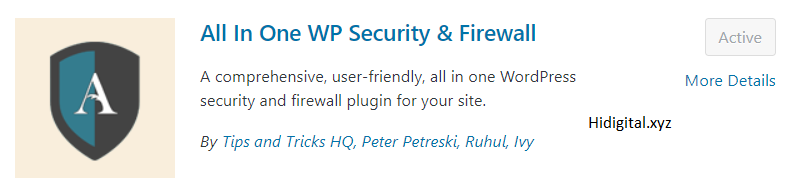 All in one WP security & Firewall Plugin for WordPress